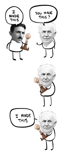 Tesla vs. Edison in a Nutshell