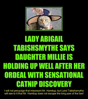 LADY ABIGAIL TABISHSMYTHE SAYS DAUGHTER MILLIE IS HOLDING UP WELL AFTER HER ORDEAL WITH SENSATIONAL CATNIP DISCOVERY
