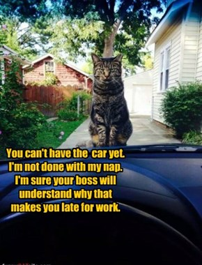 You can't have the  car yet.  I'm not done with my nap. I'm sure your boss will understand why that makes you late for work.