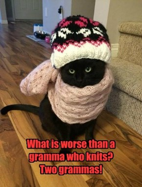 What is worse than a gramma who knits? Two grammas!