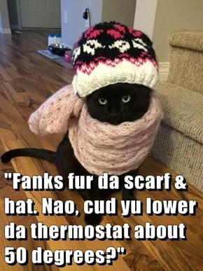 """Fanks fur da scarf & hat. Nao, cud yu lower da thermostat about 50 degrees?"""