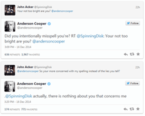 Anderson Cooper Continues to be the Best at Putting Down Trolls