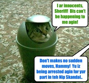 "Ater a thoro serch of teh KKPS, Sheriff LockEmUp discobered Pajent Director Mr Hamitup hiding in a waste bin! Sed teh Sheriff: ""Dis attempt to evade teh lawful authorities iz a cleer sine ob Hammy's gilt in dis Nip Skandal!"""