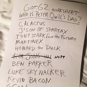 James Gunn Instagramed His Updated List For Star-Lord's Dad