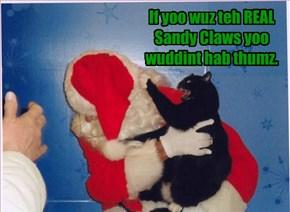 If yoo wuz teh REAL Sandy Claws yoo wuddint hab thumz.