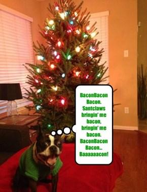 BaconBaconBacon. Santclaws bringin' me bacon, bringin' me bacon. BaconBaconBacon... Baaaaaacon!