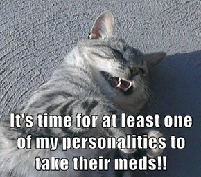 It's time for at least one of my personalities to take their meds!!