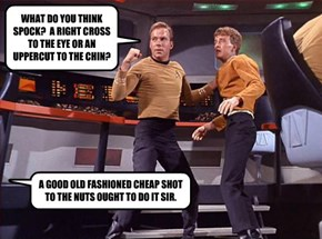 WHAT DO YOU THINK SPOCK?  A RIGHT CROSS TO THE EYE OR AN UPPERCUT TO THE CHIN?