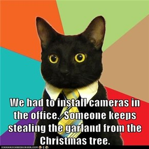 We had to install cameras in the office.  Someone keeps stealing the garland from the Christmas tree.