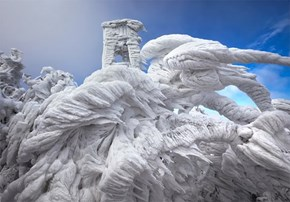 A Ski Resort in Slovenia Freezes Over, Making for a Cool Winter Scene