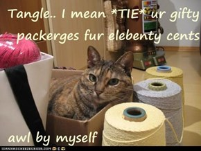 Tangle.. I mean *TIE* ur gifty packerges fur elebenty cents   awl by myself