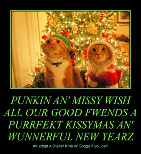 PUNKIN AN' MISSY WISH ALL OUR GOOD FWENDS A PURRFEKT KISSYMAS AN' WUNNERFUL NEW YEARZ