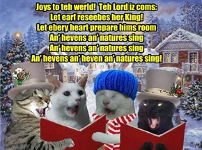 Krafty an' his sweetie Priscilla join wiff Millie an' Robin Banks to sing Krismas Carols arownd teh KKPS Campus!