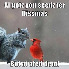 Ai gotz you seedz fer Kissmas  But ai ated dem!