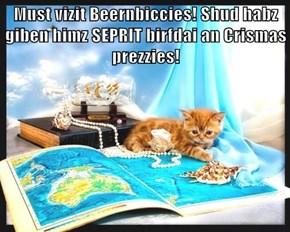 Must vizit Beernbiccies! Shud habz giben himz SEPRIT birfdai an Crismas prezzies!