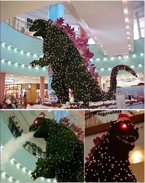 Classic: No Christmas Tree Will Live Up to the Godzilla in a Tokyo Mall