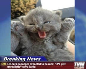 "Breaking News - LOLcats no longer expected to be nice! ""It's just unrealistic"" says Santa"