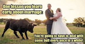 One lesson you learn early about marriage: