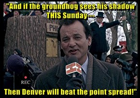 """And if the groundhog sees his shadow THIS Sunday---  Then Denver will beat the point spread!"""