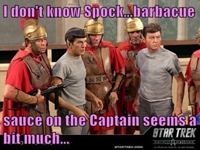 I don't know Spock...barbacue  sauce on the Captain seems a bit much...