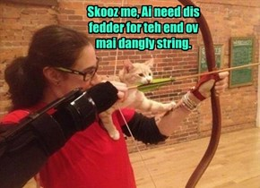 Skooz me, Ai need dis fedder for teh end ov mai dangly string.