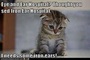 Eye and Ear Hospital? Thought you sed Iron Ear Hospital.  I needs some iron ears!