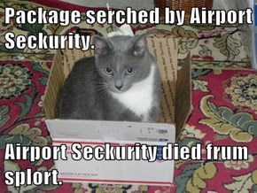 Package serched by Airport Seckurity.  Airport Seckurity died frum splort.