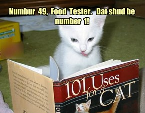 Numbur  49,  Food  Tester.   Dat shud be number  1!