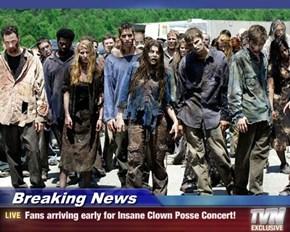 Breaking News - Fans arriving early for Insane Clown Posse Concert!