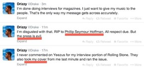 "Drake is Very Upset That Philip Seymour Hoffman Overshadowed his ""Rolling Stone"" Cover, Good Thing He Handles it Maturely"