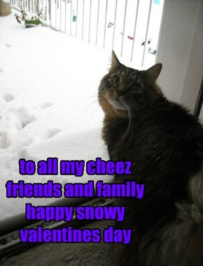 to all my cheez friends and family happy snowy valentines day