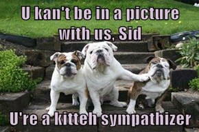 U kan't be in a picture with us, Sid  U're a kitteh sympathizer