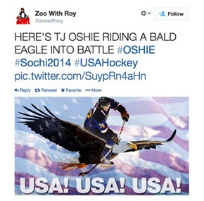 USA Hockey Player (Now National Hero) TJ Oshie Beats the Russian Team in a Shootout, and the Internet Salutes Him