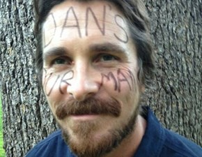 Christian Bale Wrote on His Face to Support a Man With Cancer