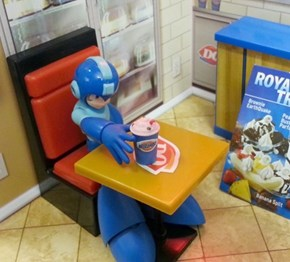 Depressed Mega Man Can't Quite Reach His Blizzard