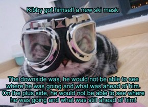 Kibby got himself a new ski mask.          The downside was, he would not be able to see where he was going and what was ahead of him. On the plus side, he would not be able to see where he was going and what was still ahead of him!