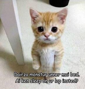 Dairza monstur unner mai bed.   Ai ken sleep on ur lap insted?