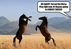 All right!!!  Cut out the Horse Play right now, Or Noones going to CHUCKY CHEESE!