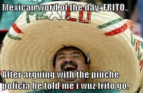 Mexican word of the day: FRITO..  After arguing with the pinche policia he told me i wuz frito go.