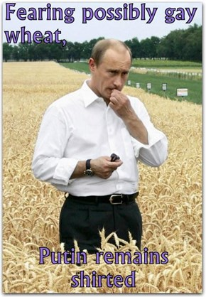 Fearing possibly gay wheat,  Putin remains shirted