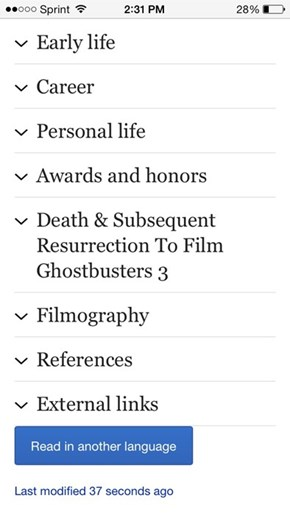 This Was Harold Ramis' Wikipedia Page Earlier Today