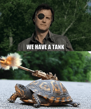 "In german turtle shell and tank share the same word, ""Panzer""."