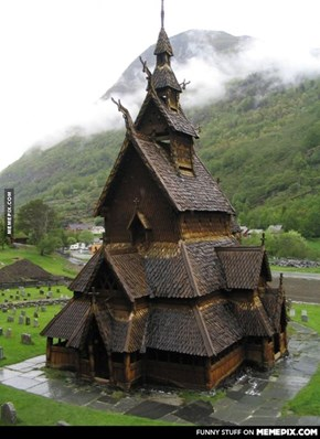 The Borgund Stave Church, Norway.Built some time between 1180-1250