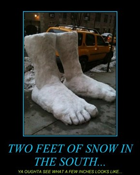 TWO FEET OF SNOW IN THE SOUTH...