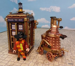Steampunk TARDIS and Dalek