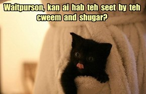Waitpurson,  kan  ai  hab  teh  seet  by  teh cweem  and  shugar?