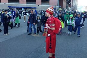 This Fan Had Some Serious Guts Showing Up to the Seahawks Parade Like This