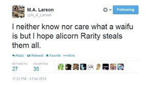 No, M. A. Larson, please stahp.