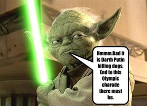 Hmmm.Bad it is Darth Putin killing dogs. End to this Olympic charade there must be.