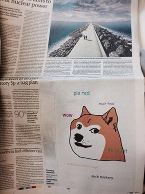 Company Takes Out a Quarter-Page Doge Ad in a UK Newspaper
